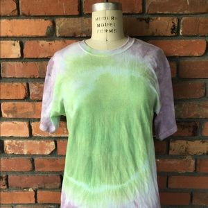 Tie Dyed Hanes T-Shirt Small Purple Green